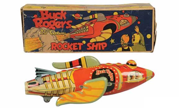 Ca. 1935 Buck Rogers tin rocket ship toy manufactured by Louis Marx & Co.
