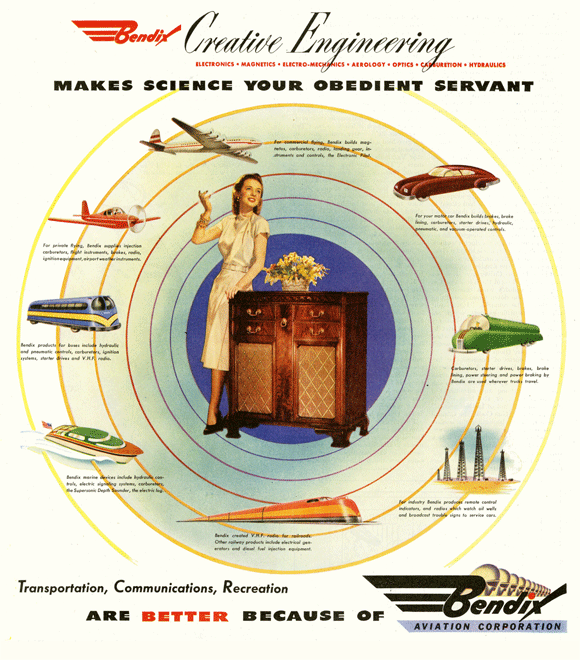 A 1946 advertisement for the Bendix Corporation