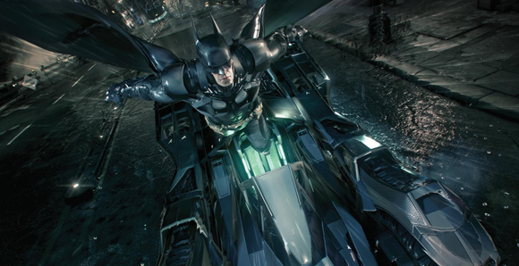 Batman ejecting from the Batmobile in 'Batman: Arkham Knight'