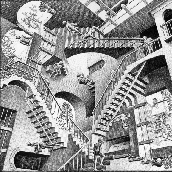 'Relativity' by M. C. Escher, 1953