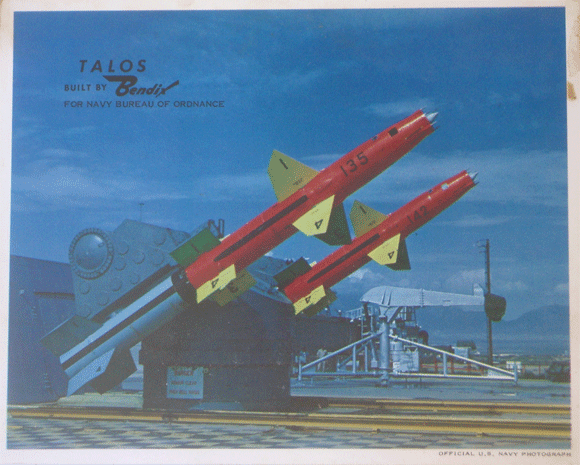 RIM-8 Talos surface to air missile built by Bendix Corporation in test launcher at White Sands Missile Range New Mexico