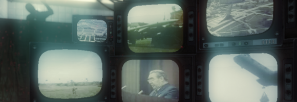 The screens, filled with cold war imagery, in the interrogation room in Call of Duty: Black Ops (Treyarch 2010)