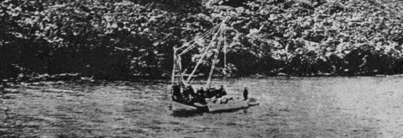 """The sponge fishers in their caique at the discovery site off Antikythera.""—Fig. 4 from Price 1974: 8. Price in turn took it from Svoronos 1903."