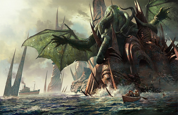 Cthulu and the sunken city of R'lyeh rising