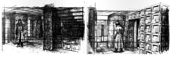 Two sketches for Deckard's (Harrison Ford) apartment as seen in 'Blade Runner' (Scott 1982)