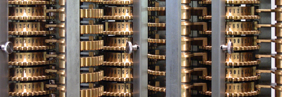 Detail of the difference engine at the London Science Museum