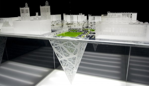 Model of the projected Earthscraper for Mexico City by BNKR Arquitectura