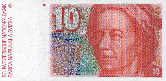 Leonhard Euler (1707-1783) as depicted on the former Swiss 10 francs banknote