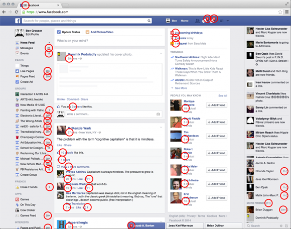 Metric locations on the Facebook news feed (circled in red) by Benjamin Grosser
