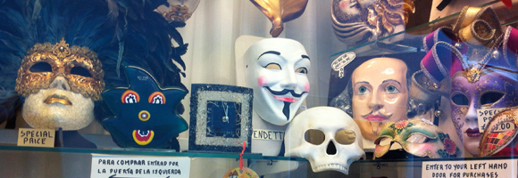A Guy-Fawkes mask in a shopwindow in Venice in 2012