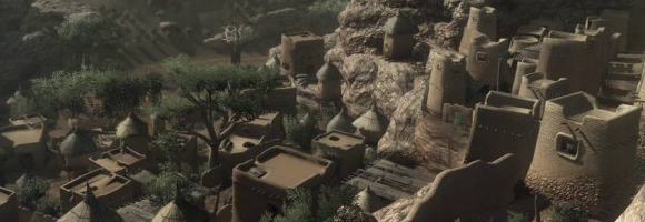 A screenshot of the Dogon village in Far Cry 2