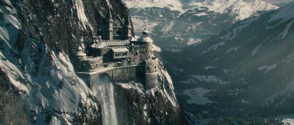 The fictional castle atop Reichenbach Falls as seen in 'Sherlock Holmes: A Game of Shadows' (Ritchie 2011)