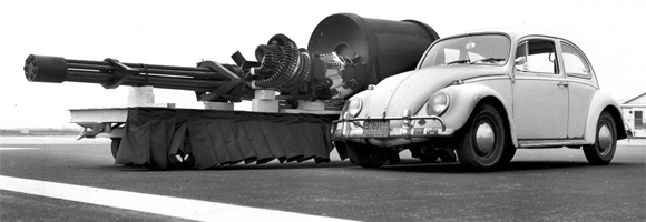 A GAU8 Avenger Gatling gun and a type one VW beetle side by side