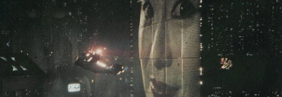 Blade Runner spinner over cityscape with famous Geisha-billboard
