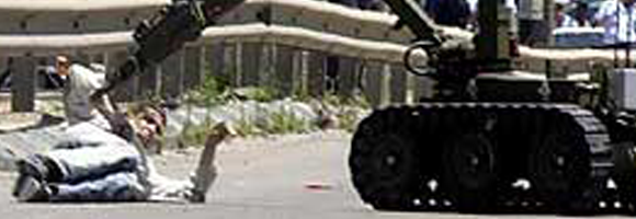 Bomb disposal robot near Haifa