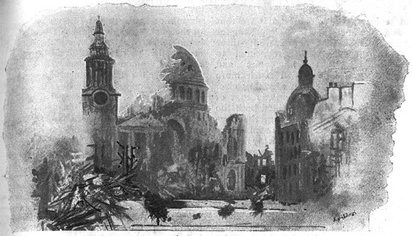 The destroyed St. Pauls Cathedral, London in 'Hartmann the Anarchist' (Fawcett 1893)