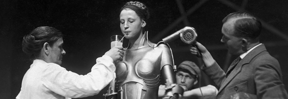 Brigitte Helm on the set of 'Metropolis'