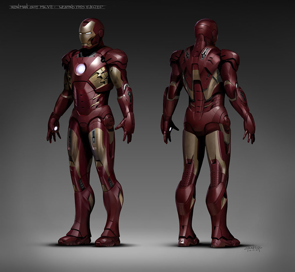 The Iron Man Suit Mark VII designed by Phil Saunders and digitally sculpted by Josh Herman for 'The Avengers' movie