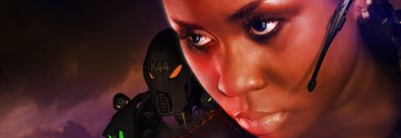 Detail of a promotional poster for the Nigerian cyberpunk movie 'Kajola' (Akinmolayan 2010)