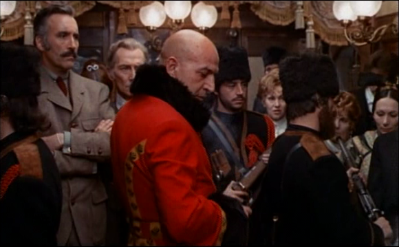 From left to right: Christopher Lee, Peter Cushing, and Telly Savalas in the 'Horror Express' (Martin 1972)
