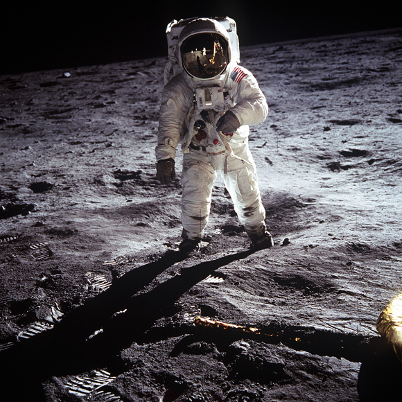Edwin 'Buzz' Aldrin on the moon, Neil Armstrong, who took the picture reflected in his vizor