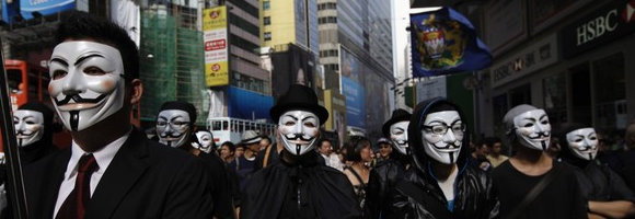 Guy Fawkes in Hong Kong on 09 October 2011