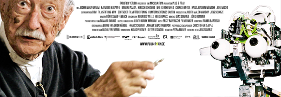 Detail of the promotional poster for the documentary 'Plug & Pray' (Schanze 2010)