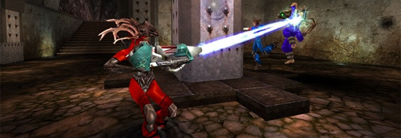 Fighting with the lightning gun in Quake Live's map Hidden Fortress