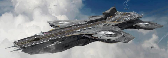 S.H.I.E.L.D.'s flying aircraft carrier as depicted in 'The Avengers' (Whedon 2012)