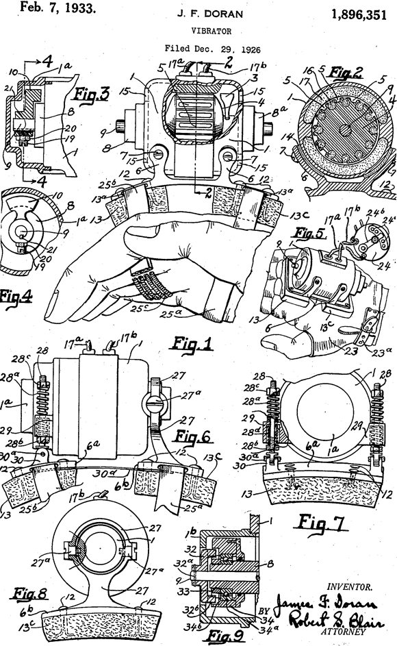 John F. Doran's patent for a vibrator from 1933