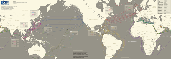 Submarine Cable Map 2011 by TeleGeography