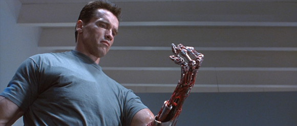 Arnold Schwarzenegger in 'Terminator 2: Judgement Day' (Cameron 1991), proofing that he is a cyborg