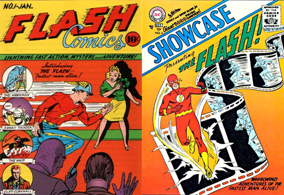 Covers of Flash Comics #1 (January 1940) and Showcase