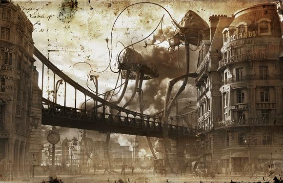 War of the Worlds—Martian Tripod War Machines Attacking London