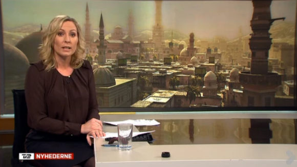 Screengrab of Danish TV2 news format on 26 February 2013 prominently featuring a vista of Damascus from 'Assassin's Creed' (Ubisoft Montreal 2007)