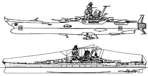 Side elevations of the Space Battleship Yamato and a Yamato class battleship of the Imperial Japanese Navy